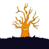 icône isolé arbre sec hanté vecteur
