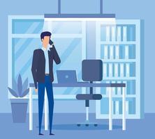 élégant homme d'affaires appelant avec smartphone au bureau vecteur
