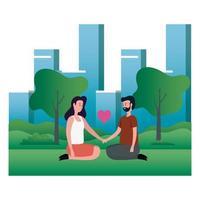 joli couple amoureux assis sur les personnages du parc vecteur