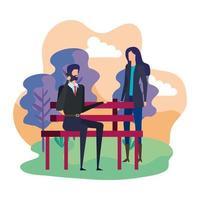couple d'affaires appelant avec téléphone portable dans la chaise de parc