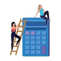 jeunes femmes avec des caractères de calculatrice vecteur
