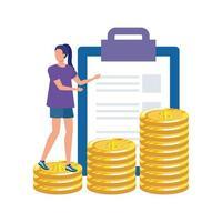 jeune femme avec liste de contrôle et argent