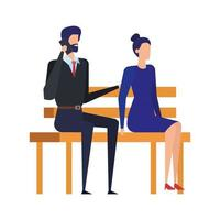 couple d'affaires appelant avec téléphone portable dans la chaise de parc vecteur