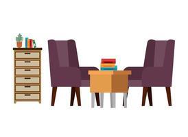 scène de salon canapé confortable et table en bois