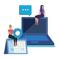 jeunes femmes avec des personnages d'ordinateur portable