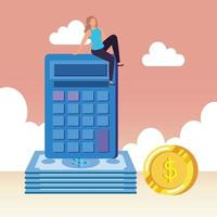 jeune femme avec calculatrice et argent