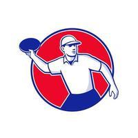 joueur de golf de disque jetant un cercle de mascotte