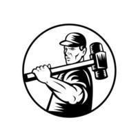 Travailleur de démolition rétro avec marteau noir et blanc vecteur