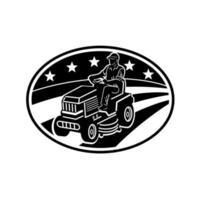 Jardinier américain tondre tondeuse autoportée rétro noir et blanc vecteur