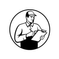 Inspecteur ou technicien avec liste de contrôle du presse-papiers inspectant rétro noir et blanc vecteur