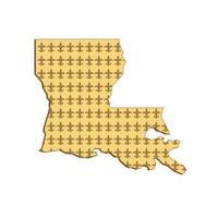 Carte d'état de la Louisiane rétro fleur de lis vecteur