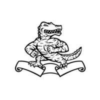 Alligator ou alligator à rayures de tigre debout sur ruban défilement mascotte noir et blanc