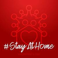 maison sûre saint valentin 2021. carte d'amour de coronavirus avec vecteur maison et icône de forme de coeur. rester à la maison badge en quarantaine. réaction de covid.