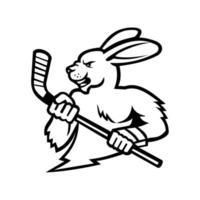 Mascotte de lièvre avec crosse de hockey sur glace noir et blanc vecteur