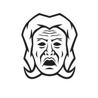 Tête de phobos dieu grec de la peur terreur et effroi mascotte noir et blanc vue de face