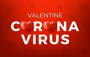 concept de Saint Valentin coronavirus. logo de conception de typographie inscription concept coronavirus covid, maladies contagieuses des personnages lorsqu'ils sont exposés à un virus, illustration vectorielle de virus dangereux vecteur
