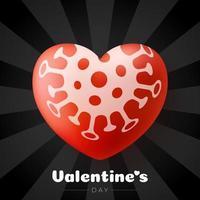 concept de jour de valentine sûr. coeur d'amour de valentine rouge et danger de danger biologique de quarantaine. coronavirus covid et amour coeur. illustration vectorielle vecteur