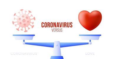 coronavirus ou illustration vectorielle d'amour. concept créatif d'échelles et contre, d'un côté de l'échelle se trouve un virus covid-19 et de l'autre icône de coeur d'amour. illustration vectorielle plane. vecteur
