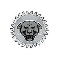 Jaguar mélanique en mascotte de lame de scie vecteur