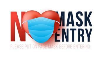 pas de masque pas d'entrée. Saint Valentin nouveau concept normal. avertissement sans masque facial pas d'entrée et garder la distance. vecteur