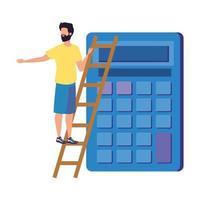 jeune homme avec caractère de calculatrice