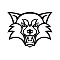 Tête de panda rouge en colère ou mascotte de vue de face de chat ours rouge en noir et blanc