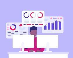 analyste d'affaires, homme travaillant avec des données commerciales vecteur