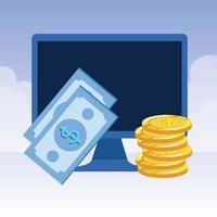ordinateur de bureau avec billets et pièces de monnaie