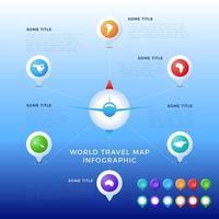 modèle d'infographie de carte de voyage du monde, icônes de couleur comme visualisation de données. modèle de vecteur infographique de carte du monde, icônes de couleur comme visualisation de données