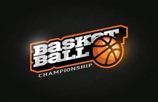 typographie professionnelle moderne basket-ball sport emblème de vecteur de style rétro et création de logo de modèle. salutations drôles pour vêtements, carte, insigne, icône, carte postale, bannière, étiquette, autocollants, impression.