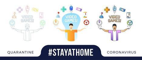 rester à la maison illustration de concept. un personnage de geek avec les mains en l'air et des icônes de doodle de jeu vidéo sont disposés en demi-cercle au-dessus de la tête. coronavirus ou jeu d'illustration vectorielle de protection covid-19 vecteur