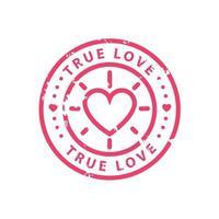 conception de modèle de timbre d'amour vintage isolé sur fond blanc vecteur