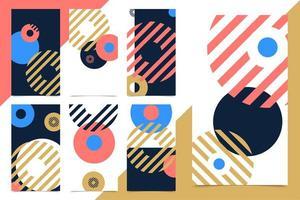 vector set bannière web vertical design moderne. pour les applications mobiles de médias sociaux. arrière-plans promotionnels lumineux avec des éléments géométriques abstraits
