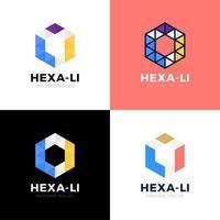 Webli li hexagone triangle alphabet lettre combinaison vector logo design icône
