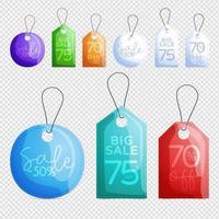 Collection de conception de balises de vente de vecteur suspendues avec différentes couleurs pour les promotions de magasin en fond transparent. illustration vectorielle.