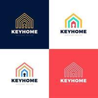 ensemble de logo vectoriel de protection de la maison, icône de maison et de trou de clé