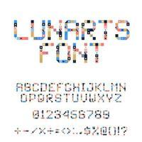 alphabet de vecteur pixel art. les lettres colorées se composent de modules. lettres de bandes, de carrés et de points. alphabet géométrique pour des affiches comme le tableau de bord électronique