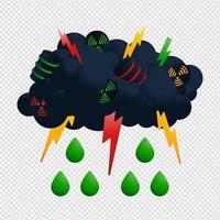 illustrateur de vecteur de nuage et de pluie nucléaire. icône radioactive avec goutte verte et conception de vecteur de retombées acides de tonnerre.