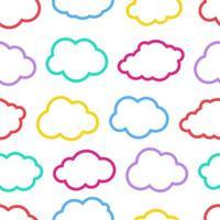 modèle sans couture de nuage de contour vectoriel coloré sans soudure. motif de nuages colorés vintage