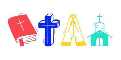 Collection de doodle thème chrétien dessiné main mignon en fond blanc isolé vecteur