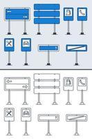 ensemble de vecteurs de panneaux de signalisation de doodle dans un style de contour coloré et doodle. icônes de panneau de signalisation dessinés à la main isolés sur fond blanc. vecteur