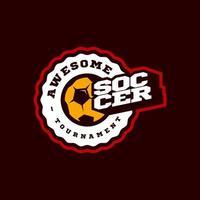 typographie de sport professionnel moderne de football ou de football dans un style rétro. emblème de conception de vecteur, insigne et création de logo de modèle sportif