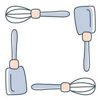 Spatule de cuisine disposée dans une illustration de stock de vecteur de cadre carré dans le style de doodle