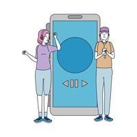 jeune couple amis écoutent de la musique avec smartphone