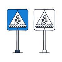 panneau de signalisation de passage pour piétons carré. icône de vecteur dans le style de dessin animé de doodle avec contour.