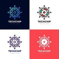 technologie - modèle de logo vectoriel pour identité d'entreprise. signe de puce abstraite. réseau, illustration de concept de technologie internet. élément de conception.