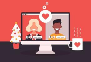concept d'application de rencontres en ligne avec homme et femme. illustration vectorielle plane avec femme africaine et homme chauve blanc sur écran d'ordinateur portable.