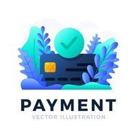 illustration de stock de vecteur de carte de crédit de paiement acceptée isolée sur fond blanc. le concept d'une opération de paiement bancaire réussie. le recto de la carte avec une coche dans un cercle.