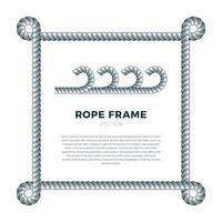 bordure de vecteur tissé corde blanche avec noeuds de corde, cadre vectoriel carré. isolé sur blanc