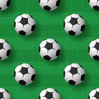 modèle sans couture de balles de football. tas de ballons de football classiques en noir et blanc. fond de vecteur réaliste